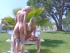 Two blondes in nature caress each other blonde lesbian porn