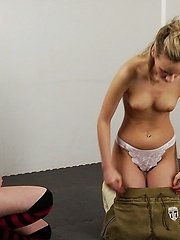 Teen blondie exercised and seduced by a... lesbian porn pics
