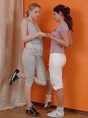 Sporty lesbian babes exercising and having... lesbian porn pics