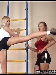 Sporty girl does exercises under lesbian... lesbian porn pics