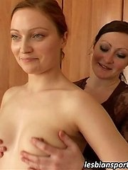 Sexy trainee gets naked and thrilled by a... lesbian porn pics