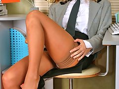 Blonde secretary Vita in stockings showing... stockings lesbian porn