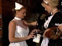 Lustful lesbo maid and nurse have fun on... uniform lesbian porn